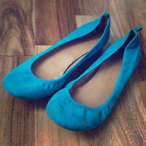 Jcrew teal/turquoise blue suede ballet flats sz 8
